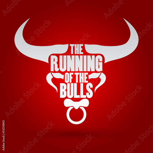 Running of the Bulls festival, vector illustration.