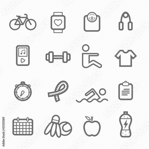 exercise symbol line icon set