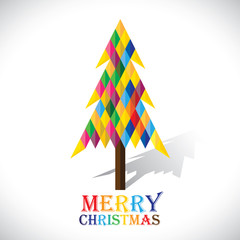 Colorful xmas tree made with origami papers in diamond shape- ve