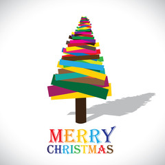 Abstract colorful christmas tree on white background- vector gra