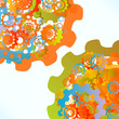 Colored cogwheels vector abstract synchronization