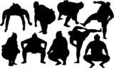 zápasníci sumo siluetu