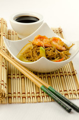 Delicious Chinese noodles with shrimps