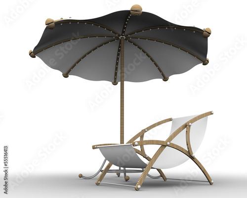 Шезлонг под пляжным зонтом