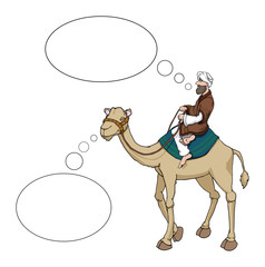 Arab man riding a camel speech bubbles, vector illustration