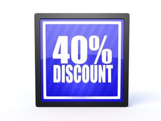 discount rectangular icon on white background