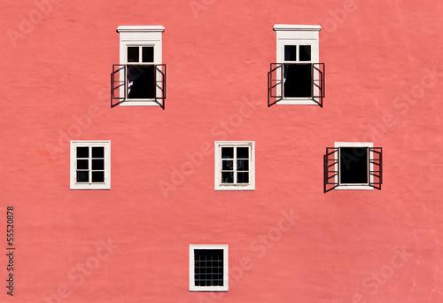 Leinwanddruck Bild Old castle wall with windows
