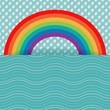 Rainbow and rain card template