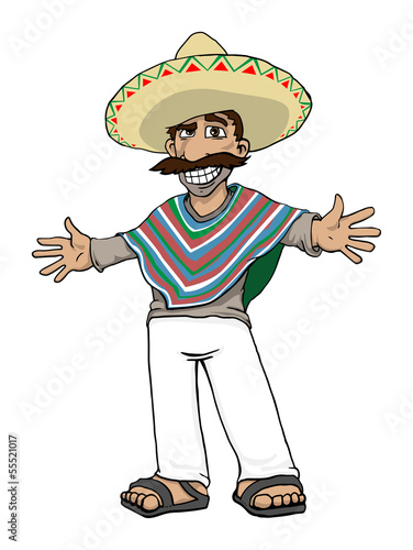 Vector  Mexican Cartoon Character  vector illustrationMexican Cartoon Character