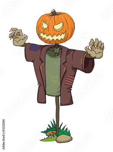 Pumpkin scarecrow with scary zombie hands