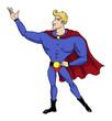 Big chin, superhero in heroic stance