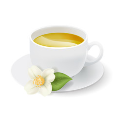 realistic white cup with herbal tea