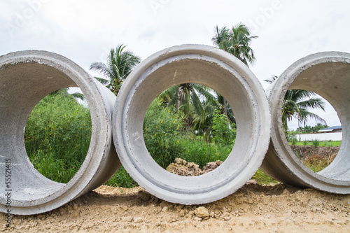 Concrete drainage pipe on a construction site in Thailand