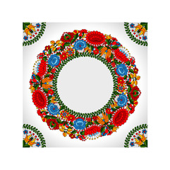 Hungarian traditional folk ornament circle background template