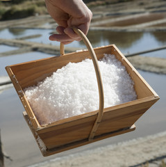 Freshly harvested salt in a wooden box