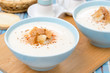 two bowls of cold cauliflower soup with cottage cheese
