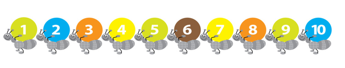 happy ants with numbers- vector illustration