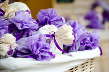Violet and white packets with lavender flowers