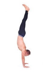 Practicing Yoga. Full Arm Balance - Adho Mukha Vrksasana