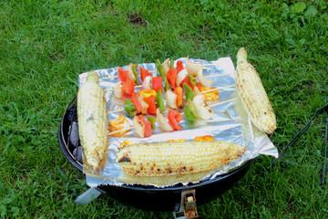grilling in garden