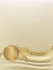 Vector beige background with a gold monogram, can be used as a c