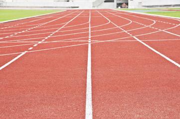 Running race track in public national stadium.