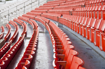 Seats on main stand of public national stadium.