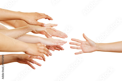 canvas print picture Many arms reaching for helping hand