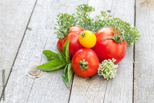 Fresh ripe tomatoes and herbs