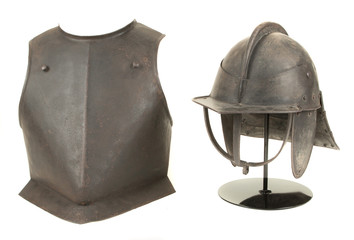 Antique 17th Century English Civil War Helmet and Breast Plate