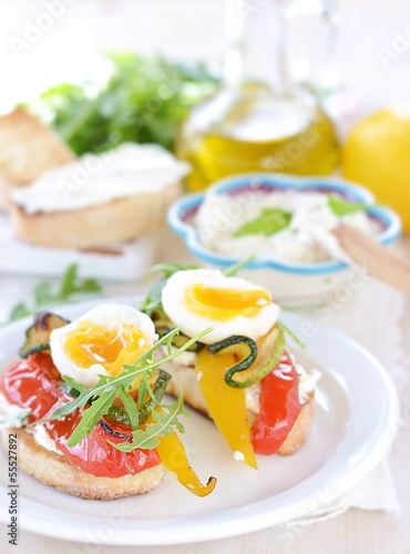 bruschetta with grilled  vegetables