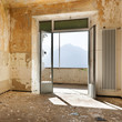 canvas print picture - abandoned building, empty room with window