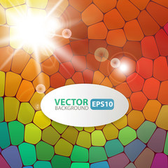 Colorful mosaic background with sunburst flare