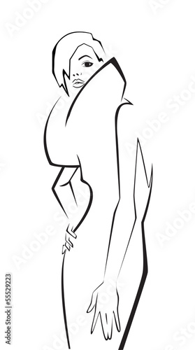 Fashion model. Scetch. Vector illustration