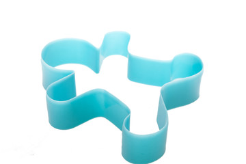 Man plastic cookies cutter isolated on white