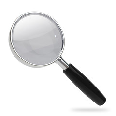 Magnifying glass with chrome rim isolated