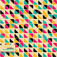 Abstract seamless pattern with bright triangles