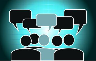 Meeting Sitzung Gespräch Büro Sprechblase Piktogramm