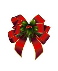 Schleife rot mit Weihnachtsdeko