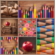 Collage of pencils and books