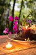 Popurrí, bowl, candles, and orchid - in forest