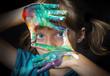 Leinwanddruck Bild - little girl and water colors - portrait