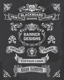 Blackboard banner vector illustration with texture added