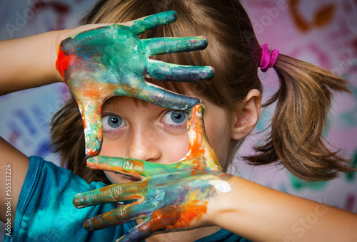 canvas print picture little girl and colors - portrait