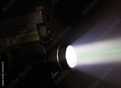 Handgun with a flashlight and laser