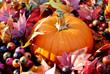 Pumpkin in Fall Leaves and Berries