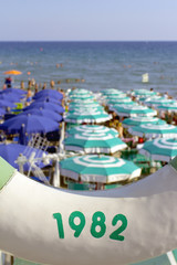 Liguria summer beach panorama color image
