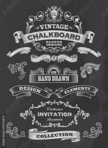 Collection of banners and ribbons. vintage retro design style.