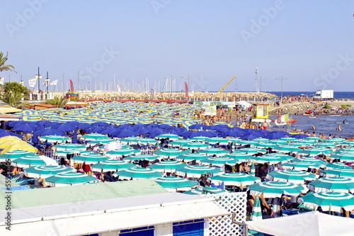 Liguria summer beach panorama color image