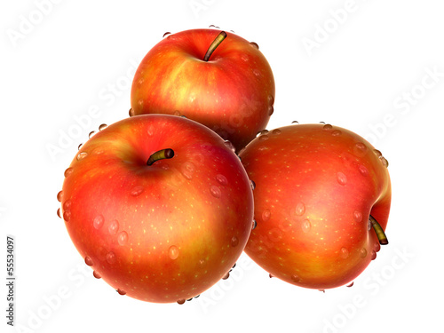 Three Red Apple covered with waterdrops. Foods and Dishes Series